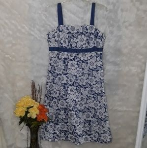 New York & Company Floral Summer Dress Blue